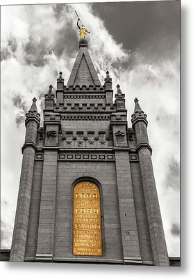 Golden Slc Temple Metal Print by La Rae  Roberts