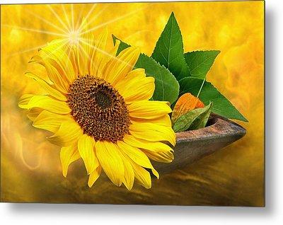Golden Sunflower Metal Print