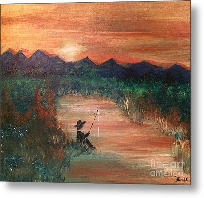 Metal Print featuring the painting Golden Sunset by Denise Tomasura