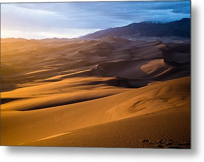 Golden Sunset In The Dunes Metal Print by Adam Pender