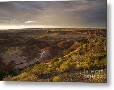 Golden Sunset Over The Painted Desert Metal Print by Melany Sarafis