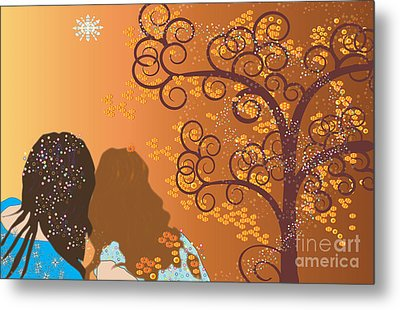 Metal Print featuring the digital art Golden Swirl Girls by Kim Prowse