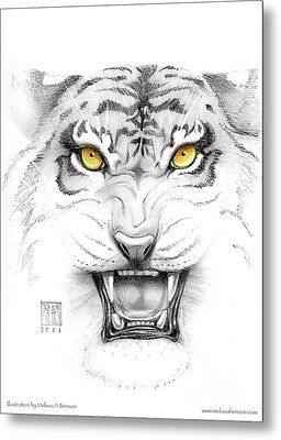 Golden Tiger Eyes Metal Print by Melissa A Benson