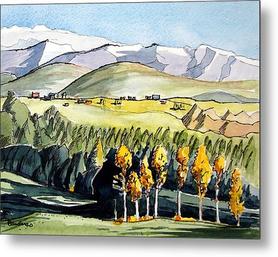 Metal Print featuring the painting Golden Trees by Terry Banderas