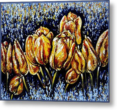 Golden Tulips Metal Print