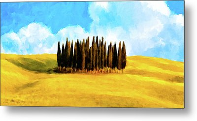 Metal Print featuring the mixed media Golden Tuscan Landscape Artwork by Mark Tisdale