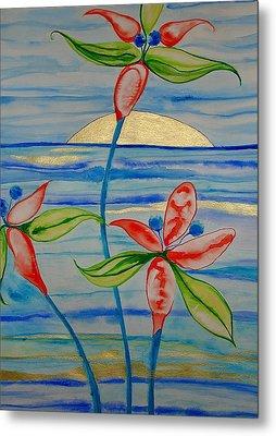 Metal Print featuring the painting Golden Waikiki Sunset by Erika Swartzkopf