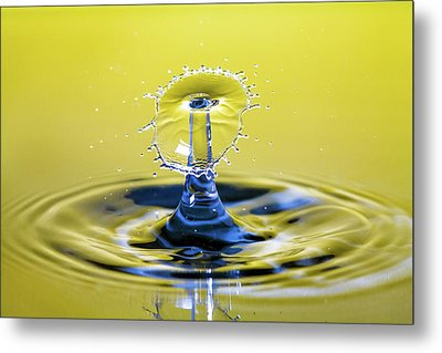 Golden Water Drop Umbrella Metal Print