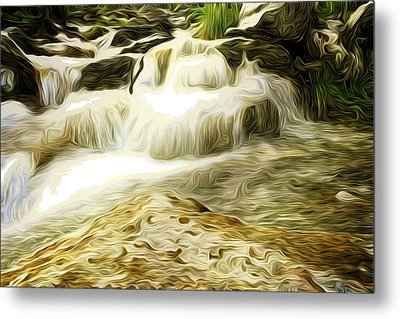 Golden Waterfall Metal Print