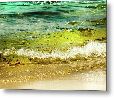 Golden Waves At Pacific Grove California Near Lover's Point Metal Print