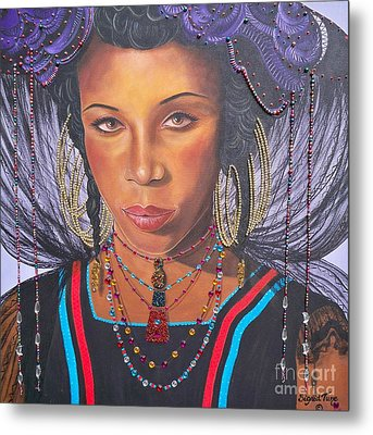 Metal Print featuring the painting Golden Wodaabe Girl by Sigrid Tune