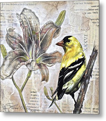 Goldfinch And Lily Metal Print