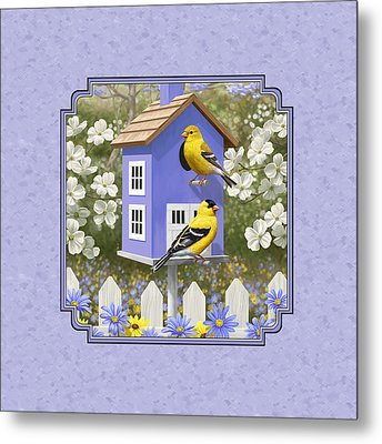Goldfinch Birdhouse Lavender Metal Print by Crista Forest