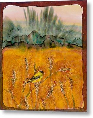 Goldfinch In The Wheat Metal Print by Carolyn Doe