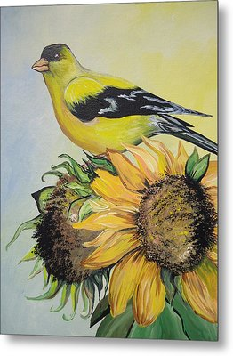 Goldfinch Metal Print by Leslie Manley