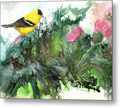 Metal Print featuring the painting Goldfinch by Sherry Shipley