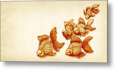 Goldfish School Metal Print by Catherine Noel