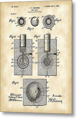 Golf Ball Patent 1902 - Vintage Metal Print by Stephen Younts