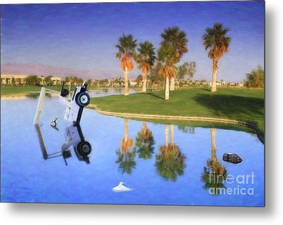 Metal Print featuring the photograph Golf Cart Stuck In Water by David Zanzinger