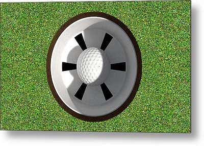 Golf Hole With Ball Inside Metal Print