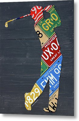 Golfer Silhouette Recycled Vintage Michigan License Plate Art Metal Print