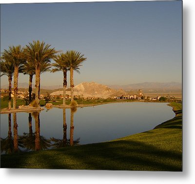 Golfing Oasis Metal Print by Larry Underwood