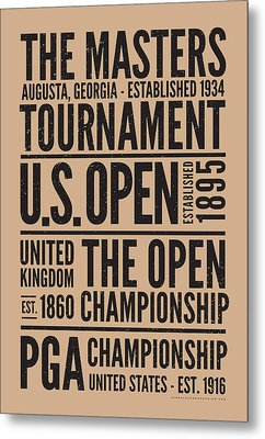 Golf's 4 Grand Slams Metal Print by Mark Kingsley Brown