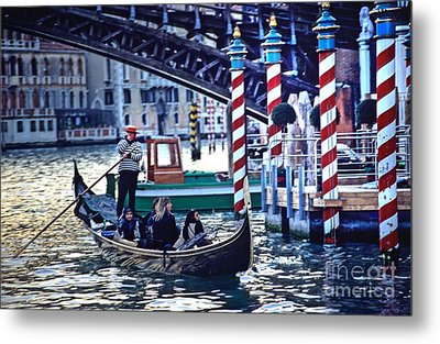 Gondola In Venice On Grand Canal Metal Print by Michael Henderson