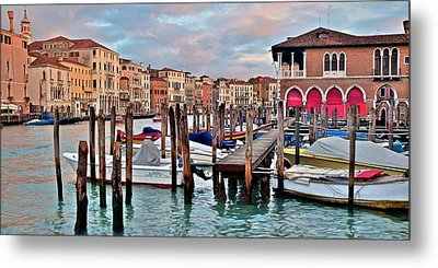 Gondola Mooring Poles Metal Print by Frozen in Time Fine Art Photography