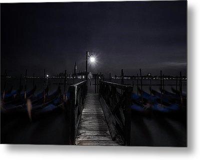 Gondolas In The Night Metal Print by Andrew Soundarajan