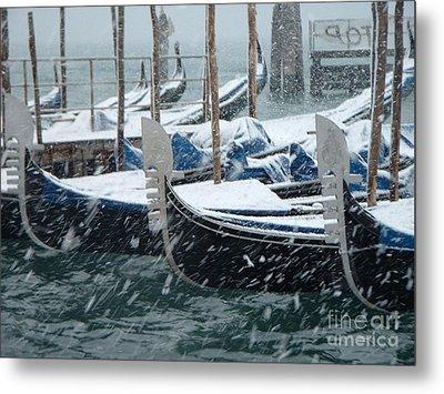 Gondolas In Venice During Snow Storm Metal Print by Michael Henderson