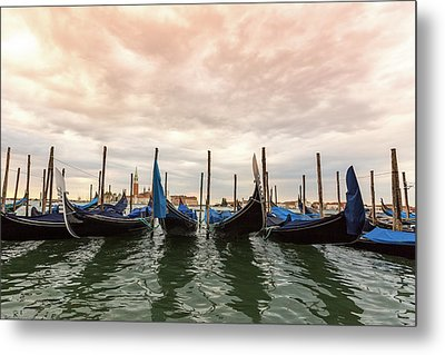 Metal Print featuring the photograph Gondolas In Venice by Melanie Alexandra Price