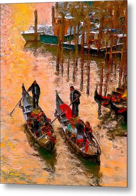 Metal Print featuring the photograph Gondolieri by Juan Carlos Ferro Duque