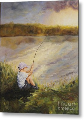 Gone Fishing Metal Print by Diane Kraudelt