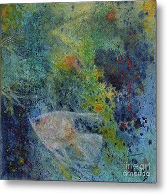 Metal Print featuring the painting Gone Fishing by Karen Fleschler