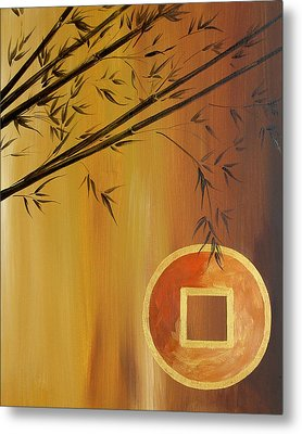 Metal Print featuring the painting Good Fortune Bamboo 2 by Dina Dargo