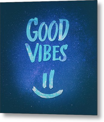 Good Vibes  Funny Smiley Statement Happy Face Blue Stars Edit Metal Print by Philipp Rietz