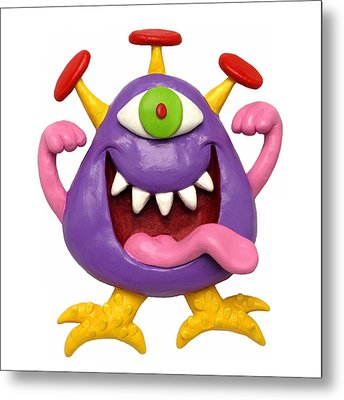 Goofy Purple Monster Metal Print by Amy Vangsgard