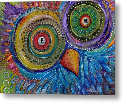 Googly-eyed Owl Metal Print by Tanielle Childers