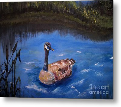 Metal Print featuring the painting Goose by Leslie Allen