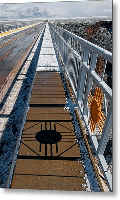 Gorge Bridge Zia Symbol Metal Print by Britt Runyon
