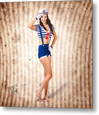 Gorgeous Young Retro Pinup Sailor Girl Metal Print by Jorgo Photography - Wall Art Gallery