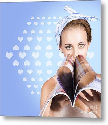 Gossip Lady Reading The Latest Womens Magazine Metal Print by Jorgo Photography - Wall Art Gallery