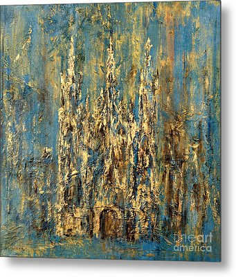 Metal Print featuring the painting Gothic Church  by Arturas Slapsys