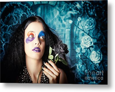 Gothic Girl Holding Black Rose. Death And Mourning Metal Print by Jorgo Photography - Wall Art Gallery