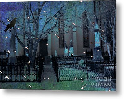 Gothic Surreal Ravens Crows Cemetery Landscape Metal Print by Kathy Fornal