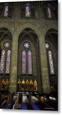 Grace Cathedral Stained Windows Metal Print