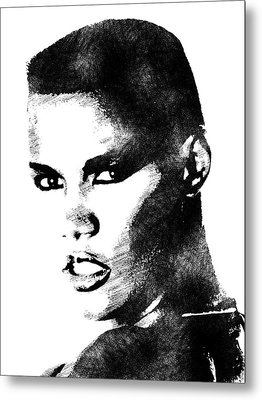 Grace Jones Bw Portrait Metal Print