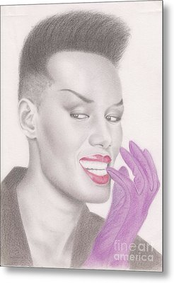 Metal Print featuring the drawing Grace Jones by Eliza Lo