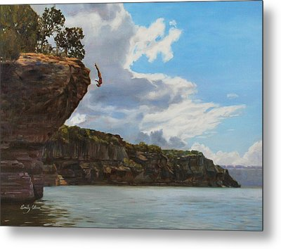 Graceful Cliff Dive Metal Print by Emily Olson